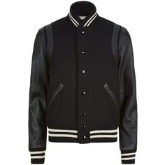 Saint Laurent Leather Sleeve Varsity Jacket ($2,015) ❤ liked on Polyvore featuring outerwear, jackets, letterman jackets, yves saint laurent jacket, retro varsity jacket, college jacket and retro jackets