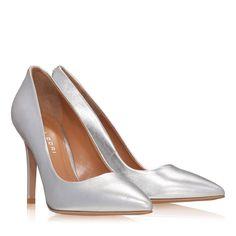 Pantofi Dama Argintii 2065 Piele Laminata Stiletto Heels, Pumps, Blog, Shoes, Fashion, Moda, Zapatos, Shoes Outlet, Fashion Styles