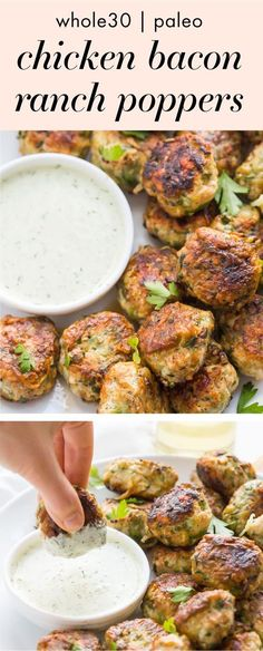 These Whole30 chicken bacon ranch poppers are one of our favorite Whole30 dinner recipe: super flavorful, family-friendly, and great for leftovers. Loaded with veggies and plenty of ranch dressing for dipping, these Whole30 chicken bacon ranch poppers are a must-try Whole30 dinner recipe for any meal plan! #whole30 #whole30recipes #paleo #paleorecipes #healthyrecipes