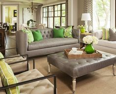 gray couch. Love how each room is a different color, but still manages to keep the same pallet.