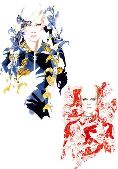 FASHION ILLUSTRATIONS (5) BY ANTONIO SOARES / HANDMADE DRAWINGS & WATERCOLOR
