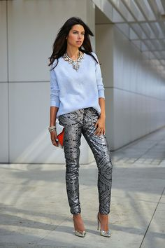"""Periwinkle J Crew Sweaters, Silver 7 For All Mankind Jeans, Red Celine Bags 