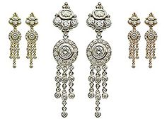 Maria Tash Gold & Diamond crown/large pave earrings   set with 7 floating stones in 18k gold.  $8840