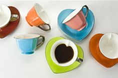 CUP & SAUCER 6.5 oz (Set of 6) - Assorted/Platinum | Yedi Houseware
