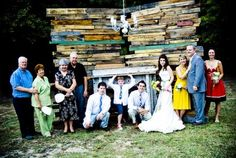 setup for an outdoor wedding, made from wood pallets.