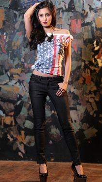 1ff35eb01e On Kim Chiu  Americana Tee + OJ Americana Denim