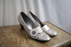 Vintage 1960s Gaymode Rhinetone Silver Metallic Heels