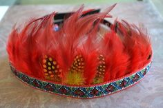 Your place to buy and sell all things handmade Indian Headband, Native American Design, Yellow Accents, Party Entertainment, Headdress, Feather, Parties, Entertaining, Costumes