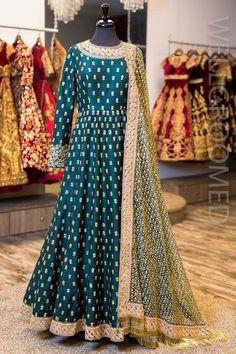 Dark Green Raw Silk Anarkali Chudidhar Designs, Anarkali Gown, Lehenga, Floor Length Anarkali, Bollywood Fashion, Bollywood Style, Long Gown Dress, Silk Suit, Ethnic Fashion