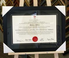 Clean, classy and modern diploma framing. #customframing #diploma