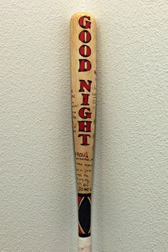 Real wood baseball bat. Drawn by hand and painted in acrylic paint. SIZES MAY VERY: If you have a preference of how long youd like you bat