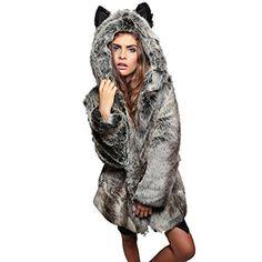 8143bb348dc EFINNY Women s Faux Fur 3D Panda Winter Thick Warm Outerwear Hooded Co. Faux  Fur Hooded JacketFaux Fur ParkaFox ...