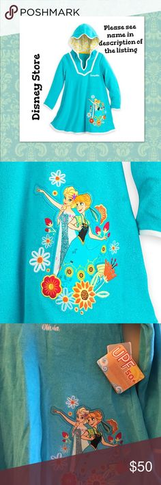 """Anna and Elsa Frozen Cover-up """"Olivia, Zoe, Emma"""" Trips to beach or the pool or bathtub will be more fun in the company of Anna and Elsa from Frozen, cover-up for girls.  The soft terry will help dry her off. This is a custom personalized cover up with the name """"Olivia"""" from the Disney Store. I also have """"Zoe, Emma, Sophia""""  Size: Girls 7/8 - Anna and Elsa applique - Embroidered flower detailing - Lined hood with contrast floral print - UPF 50+ (Protection against harmful sun rays).  Body…"""