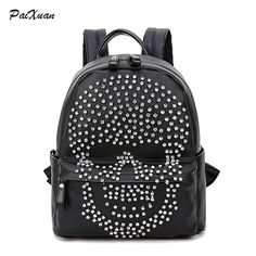 43.99$  Buy here - http://ai446.worlditems.win/all/product.php?id=32748389334 - PACENTO 2016 Fashion Famous Brand Women Backpack For Teenager Girls Design Leather Diamonds Skull School Bag sac a dos femme