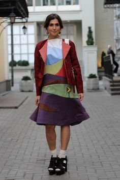 This patchwork dress. Street Style Photos From Moscow