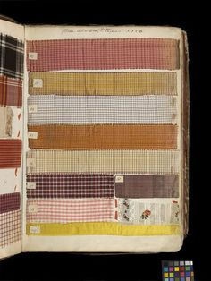 Silk Swatch book from Lyons, France 1763-64-V Search the Collections This swatch book shows a variety of silks including plaids and small checks