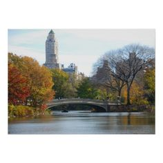 Central Park in Autumn, New York City - poster. Lovely Autumn day near the Bow Bridge. #centralparknyc #newyork #autumn #home #poster #gift #nyc