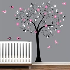 Tree Decal Vinyl Wall decals with owls birdsNursery by Modernwalls. $99.00 USD, via Etsy.