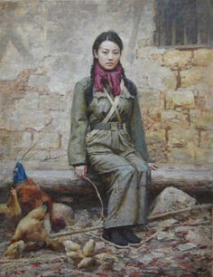 New Year: painting by Da Zhong Zhang - Female Red Guard during Mao's Cultural Revolution - original oil painting on canvas by Guangzhou-based Chinese artist, Da Zhong Zhang