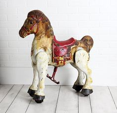 Vintage Mobo Bronco Riding Toy Horse from the early 1950s.    These ride on horses were manufactured in England by D. Sebel & Co. starting in 1947.