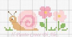 Snail and flowers x-stitch pattern punto croce foto Cross Stitch Bookmarks, Cross Stitch Borders, Cross Stitch Baby, Cross Stitch Animals, Cross Stitch Designs, Cross Stitching, Cross Stitch Embroidery, Cross Stitch Patterns, Beading Patterns