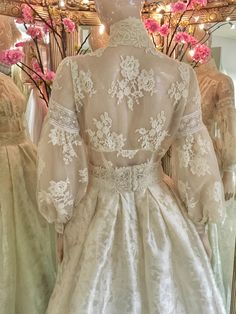Edwardian lace wedding dress with a high neck blouse and silk skirt edwardian style lace wedding dress bridal separates with modest buttoned high neck long sleeve bodice and full silk damask skirt Wedding Dress Styles, Bridal Dresses, Wedding Gowns, Edwardian Wedding Dresses, Lace Weddings, Vestidos Vintage, Vintage Dresses, Edwardian Fashion, Edwardian Style