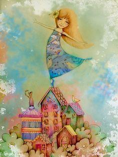 ''Dancing on Rooftops'' by Australian artist Karin  Taylor