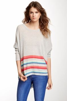 Cashmere Striped Trim Sweater by Subtle Luxury on @HauteLook