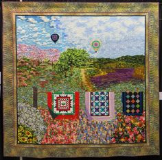 """""""Quilt Dreams"""" by Beth Nufer, quilted by Shelly Knapp. Viewer's Choice Ribbon. Beth's quilt is huge and it was inspired by a jigsaw puzzle by Diane Phalen.  Photo by Cathy Geier's Quilty Art Blog: Shipshewana Quilt Festival 2015"""