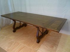 Custom Dining Table in walnut. RARE in every way !  Bold design & hand worked the ole fashion way.  Seats 6 to 10