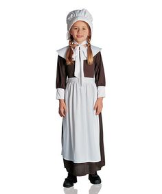 High Quality Costume Culture Brown U0026 White Colonial Girl Dress Up Set   Kids