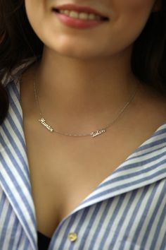 SALE %20 Personalized Two Name Necklace - Dainty Name Necklace - Tiny Name Charm…