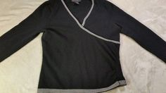 Mercer & Madison Womens stretch Merino Wool Sweater black small  #MercerMadison #VNeck