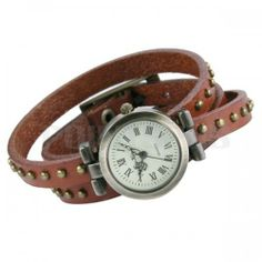 Vintage Wristband Bracelet leather Rivet Stud Watch