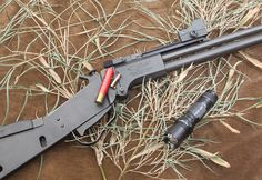 Springfield M6 Scout is one of several .22 LR/.410 combinations guns marketed as survival rifles. Savage model 42 is a more conventional loo...