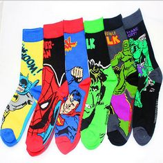 1 pairs/lot New Superman Hulk Captain America Cotton Jacquard harajuku funny socks summer style meia masculina mens socks