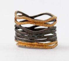 Multi wrap ring Crossover ring Black rhodium gold silver stacking ring