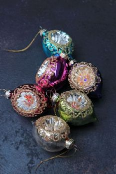 Set of 6 Glass Mexico Baubles