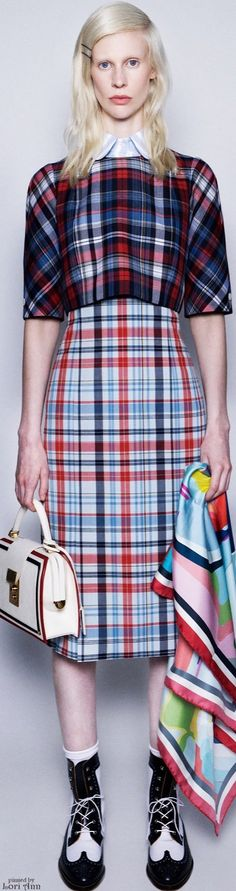 ℳiss Tallulah Tatum wears her nova check, plaids and classic tartan  Poppy Pea  Thom Browne Resort 2016