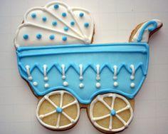 Flour Box Bakery — Blue 'Dots' Baby Carriage Favor