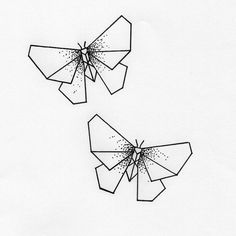 Geometric tattoo - butterflies that fly origami with dots - . - Geometric tattoo – butterflies that fly origami with dots – prints – fly - Geometric Tattoo Butterfly, Geometric Tattoo Design, Geometric Drawing, Butterfly Drawing, Origami Butterfly, Geometric Art, Geometric Origami, Geometric Animal, Origami Tattoo