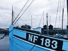 Visiting the old harbor in middelfart, Denmark. Love this blue fishing boat
