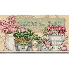 "Dimensions ""Flowers Of Paris"" Counted Cross Stitch Kit, 14"" x 8"" - Walmart.com"