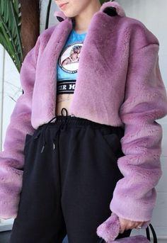 Nasir Mazhar Cropped Faux Fur Jacket $414 #nasirmazhar @nasirmazhar #wildstylela