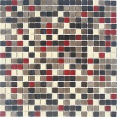 Cocoa browns and warm cream mixed with a deep garnet red, this glass mosaic tile blend could easily be used in any room where you want a pop of color backed by earthy neutrals.