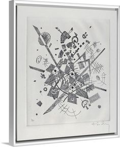 """Decorate a neutral space with Wassily Kandinsky's """"Kleine Welten IX (Small Worlds IX)."""" Canvas print, featured in a white floating frame, available at GreatBIGCanvas.com"""