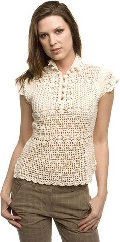 Lace top blouse   crochet handmade  custom made . by Irenastyle, $169.00