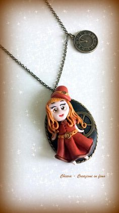 #polymerclay #steampunk #doll Collana con ciondolo in fimo fatto a mano con bambolina kawaii