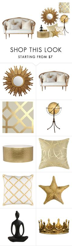 """GOLDENLOVE"" by anabelvalentina on Polyvore featuring interior, interiors, interior design, hogar, home decor, interior decorating, Designers Guild, nOir, Surya y Seletti"