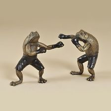 Maitland Smith Set of Two Antique Dark Bronze  Cast Brass Boxing Frog 1059-270